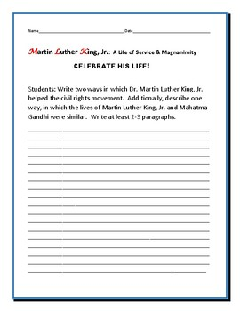 MARTIN LUTHER KING JR, A BIOGRAPHICAL WRITING PROMPT
