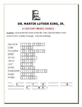MARTIN LUTHER KING, JR. - A HISTORY WORD JUMBLE