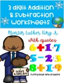 MARTIN LUTHER KING JR ADDITION AND SUBTRACTION MATH WORKSHEETS 2 3 4 GRADE
