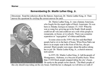 Biography MARTIN LUTHER KING, JR Info +12 Multiple Choice