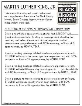 MARTIN LUTHER KING, JR. Black History Month ADAPTED BOOK for Special Education