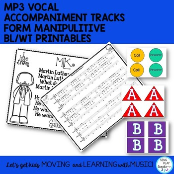 """Music Lesson and Song: """"Martin Luther King Jr."""" Form, Orff Parts, Mp3 Tracks"""