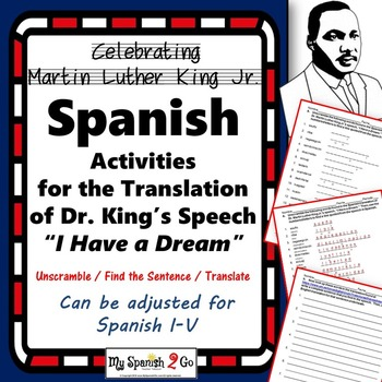 "MARTIN LUTHER KING JR- SPANISH ACTIVITIES FOR ""I HAVE A DREAM"""