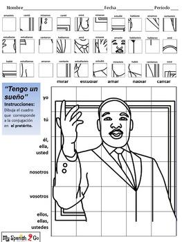MARTIN LUTHER KING JR.  SPANISH PRETERITE TENSE AR VERBS  Draw on Grid