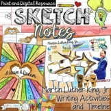 MARTIN LUTHER KING JR, WRITING ACTIVITY, TIMELINE, SKETCHNOTES, TEACHER LESSON