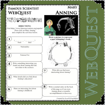 MARY ANNING FOSSILS Science WebQuest Scientist Research Project Biography Notes