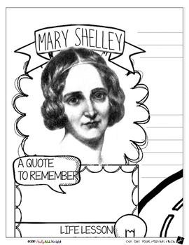 MARY SHELLEY, WOMEN'S HISTORY, BIOGRAPHY, TIMELINE, SKETCHNOTES, POSTER