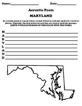 MARYLAND Acrostic Poem Worksheet