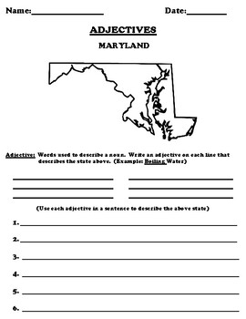 MARYLAND Adjectives Worksheet with Word Search