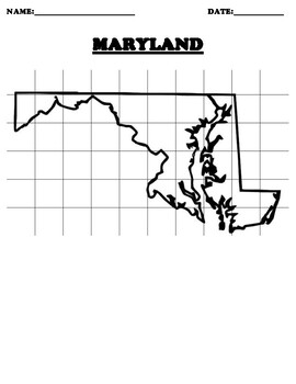 MARYLAND Coordinate Grid Map Blank