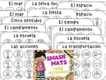 MAS Categorias Smash Mats: NO PREP + Sorts & Coloring in Spanish Speech Therapy
