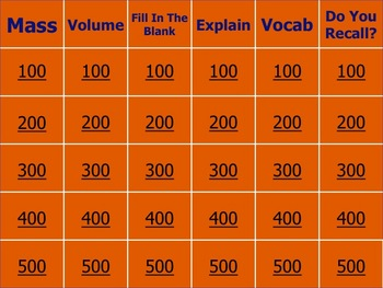 MASS & VOLUME REVIEW GAME-PowerPoint-3 beam balance/grad cylinder
