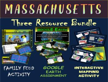 MASSACHUSETTS 3-Resource Bundle (Map Activty, GOOGLE Earth
