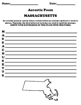 MASSACHUSETTS Acrostic Poem Worksheet