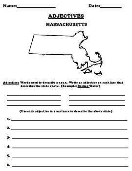 MASSACHUSETTS Adjectives Worksheet with Word Search