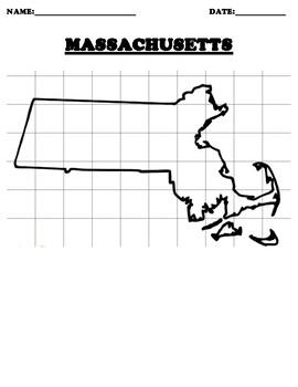 MASSACHUSETTS Coordinate Grid Map Blank