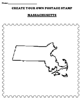 MASSACHUSETTS Create your Own Postage Stamp Worksheet