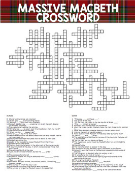 MASSIVE Macbeth Crossword P... by Breathing Space | Teachers Pay ...