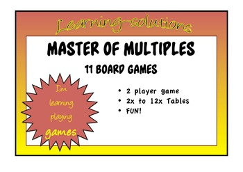 TIMES TABLES - MASTER OF MULTIPLES - 11 Board Games for Learning tables to 12x