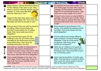 WORD PROBLEMS - SAMPLER Grade 3 to 6