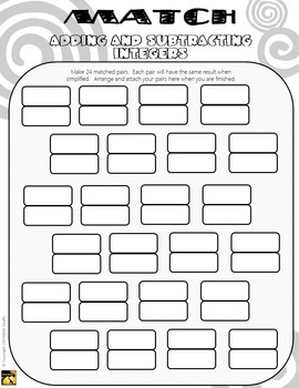 MATCH - Adding and Subtracting Integers Puzzle