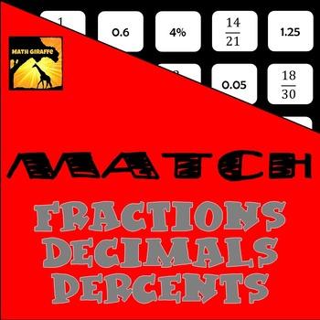 MATCH - Fractions, Decimals, and Percents Puzzle
