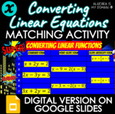 MATCHING ACTIVITY - Converting Linear Equations - DISTANCE
