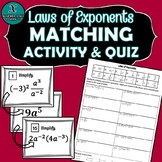MATCHING ACTIVITY & QUIZ - Algebra - Laws of Exponents