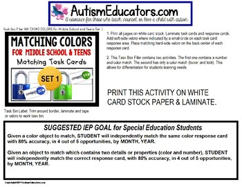 "MATCHING COLORS TASK CARDS for Middle School and Teens ""Task Box Filler"""
