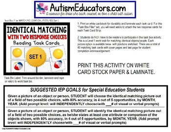 """MATCHING IDENTICAL PICTURES Task Cards for Autism SET 1 """"TASK BOX FILLER"""""""
