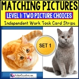"""MATCHING IDENTICAL PICTURES Task Cards for Autism SET 1 """"T"""