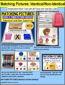 """MATCHING IDENTICAL and NON-IDENTICAL PICTURES Task Cards SET 2 """"TASK BOX FILLER"""""""