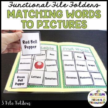 MATCHING REAL LIFE VOCABULARY FILE FOLDERS (early childhood; autism)