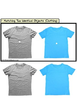 "MATCHING TWO IDENTICAL OBJECTS ""Teaching Task Cards"" (Clothing) for Autism"
