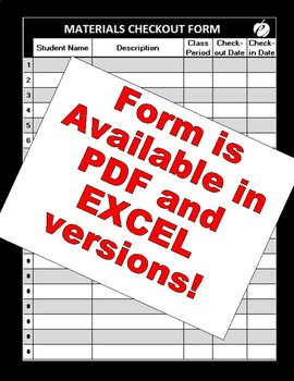 """MATERIALS CHECKOUT FORMS (Excel & PDF Versions) """"Keep Track of WHO has WHAT!"""""""