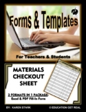 """MATERIALS CHECKOUT FORMS (Excel & PDF Versions) """"Keep Trac"""