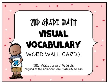 MATH 2ND Grade CCSS Aligned Visual Vocabulary Word Wall Cards