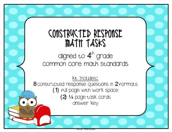 MATH 4th Grade CCSS Constructed Response Tasks – Compare,