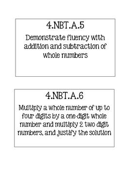 MATH 4th Grade Missouri Learning Standards Cards