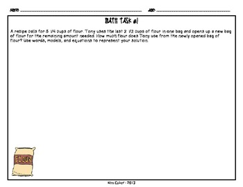 MATH 5th Grade CCSS Constructed Response Tasks – Operations with Fractions