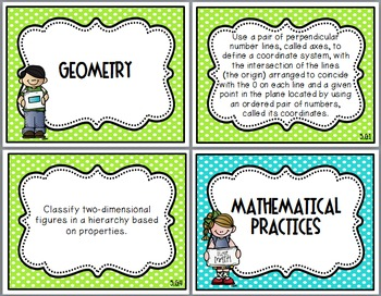 """MATH 5th Grade CCSS Posters and """"I Can"""" Statements Bright Colors Polka Dots"""