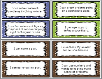 """MATH 5th Grade CCSS Posters and """"I Can"""" Statements Earth Tones Polka Dots"""
