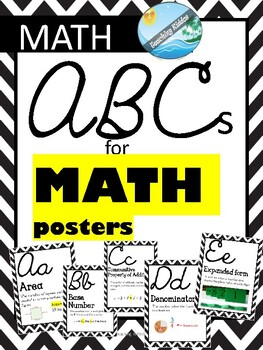 MATH - ABCs posters with VOCABULARY , definition and examples