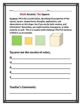 MATH ACROSTIC: THE SQUARE: A Cross-Curricular Challenge