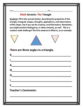 MATH ACROSTIC: THE TRIANGLE: A Crossover-Curricular Activity