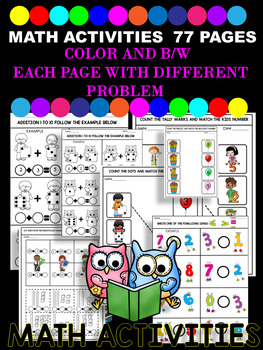 BACK TO SCHOOL - MATH FUN ACTIVITIES - 77 PAGES- COMMON CORE Pre-K TO 2nd GRADE