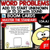 MATH ASSESSMENT 1.OA.A.1 Word Problems START Unknown | BOOM CARDS