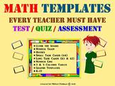 Math Assessment Templates EVERY TEACHER MUST HAVE! Test, Quiz, Review. K-12.
