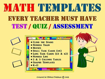 Math Assessment Templates EVERY TEACHER MUST HAVE! Test, Quiz, Review. K-12.