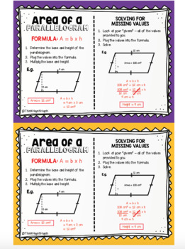 MATH: Area of a Parallelogram - Mini Student Visual